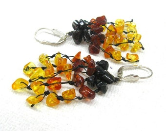 Baltic Amber Long Earrings hand knotted Tassel  Dangle Earrings Yellow Honey Brown  Multi color Ombre Gradient