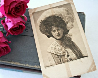 Black & White Photograph Postcard, Antique Photo Postcard, Miss Ruby Ray Portrait Photo, Edwardian Lady Photograph, Woman, Biograph Studio