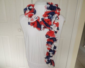ruffled red, white, and blue scarf