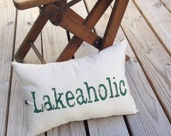 Lakeaholic Pillow - lake house decor, lake house pillow