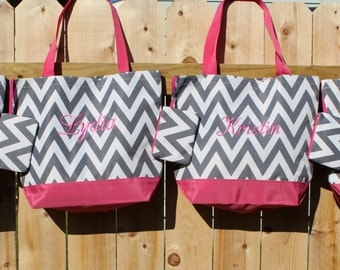 Beach Bags, 4 Bridesmaid Gifts, Gray Chevron Tote Bags, Personalized Bags