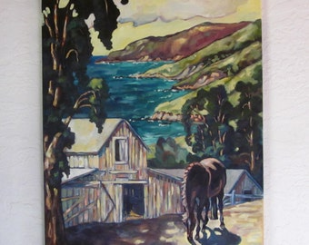 Equine Oil Painting Horse Near Barn and Ocean