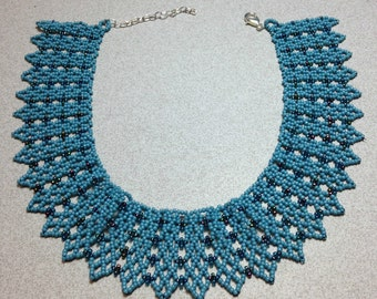 Dusty Blue Handmade Beaded Necklace