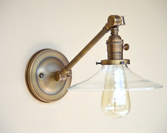 Sconce Lighting with Clear Flat Glass Shade Adjustable Arm Fixture