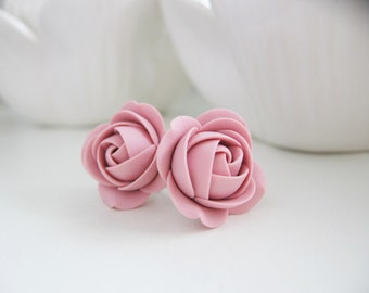 Polymer clay earrings - Cream White Rose flower Stud earrings