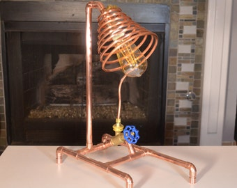 Copper Pipe Lamp, with Valve Switch, Steampunk, Desk Lamp, LED Lamp