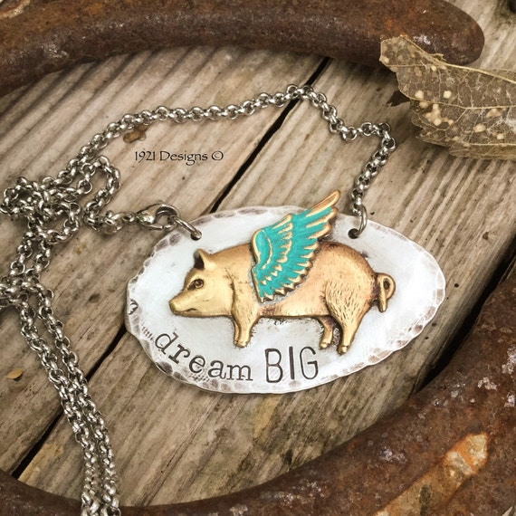 Dream big hand stamped jewelry flying pigs vintage