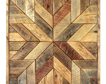 Reclaimed wood quilt square – 36 inch - Geometric wall art – Star pattern wall décor – Barnwood quilts – Country home – Large square artwork