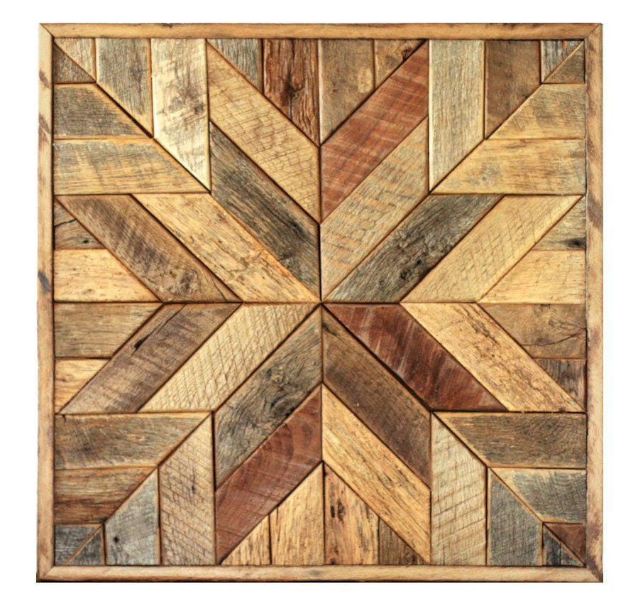 Reclaimed wood quilt square 36 inch geometric wall art Painting geometric patterns on walls