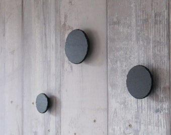 3 coat hooks in slate natural to screw in the wall