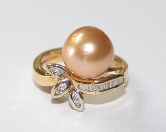 Diamond Pearl Floral Ring 14k yellow gold -  6.25 size