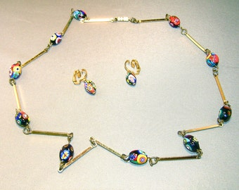 Vintage Venetian Millefiori Bead Necklace with Long Spacers - Also Earrings