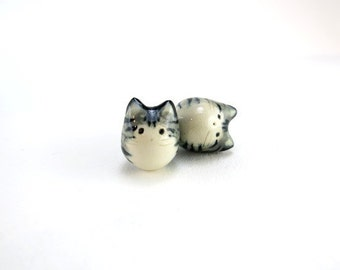 Grey Tabby Cat Necklace Cat Charm Ceramic Cat Jewelry Gift Cat Animal Pendant Fat Cat Jewelry Cat Lover Gift Stripe Cat Porcelain Charm