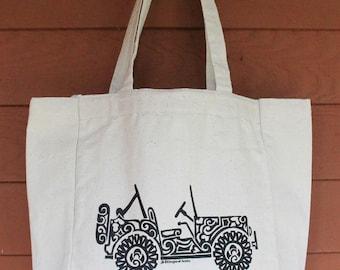 JEEP2 - SIDE VIEW Tribal Tattoo Design Grocery Tote Bag -  Screen Printed Original Design