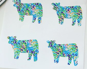 Show Cattle Heifer Vinyl Stickers - Set of 4