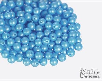 100 pcs Pearl Shine Aqua Czech Round Beads 4 mm (10276)