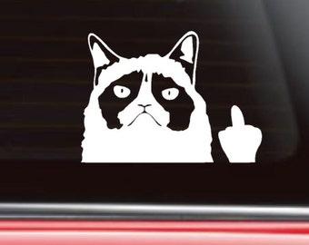 Grumpy Cat Flips the bird, Grumpy Cat Car Decal, Funny Car Decal