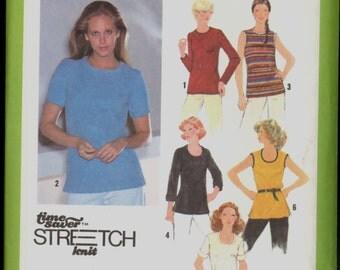 Uncut 1970s Size 16 18 20 Bust 38 40 42 Stretch Knit Top Simplicity 9069 Vintage Sewing Pattern Plus 70s
