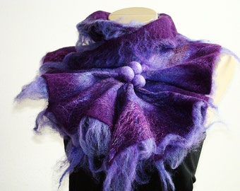 Multicolor purple Felted Wool Scarf Neckpiece Collar. Felted Wrap scarf. Chunky scarf Shibori