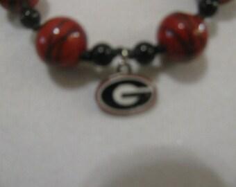 University of Georgia Beaded Necklace with Georgia charm