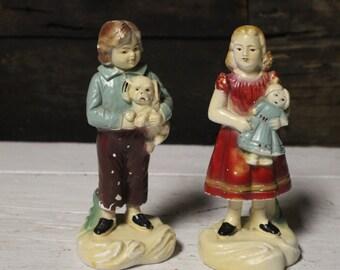 Vintage Chalkware Boy and Girl, Chalkware / Plaster Set