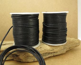 2mm Black Cord, Black Waxed Cotton Cord, 2mm Cotton Cord, 25 Meter Black Cord, Cotton Necklace Cord, Item 713c