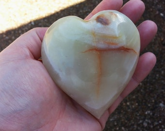 Pakistani Onyx Heart ~ One Reiki Infused gemstone heart approx 3 x 3 inches (E02)