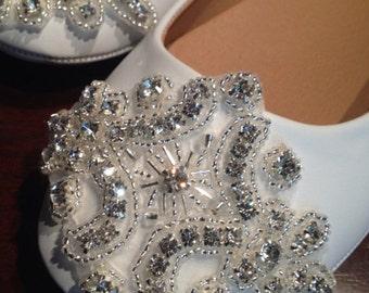 Wedding Shoe Flat,Bridal Wedding Shoe, Rhinestone Appliqué Shoe