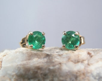 EMERALD - Truly Bright Green Emerald 14K Yellow Gold PETITE Stud Earrings! FREE Shipping!