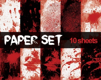Blood Digital Papers Horror Printable Set Finger Print Crime Scene