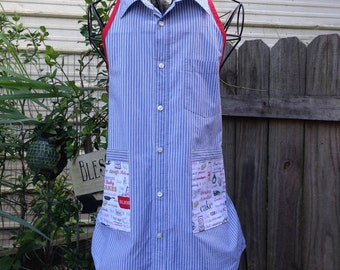 Apron made from repurposed man's shirt
