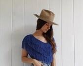 Vintage Fringe Blouse / Hand Loomed Lapis Blue Top / Avant Garde Woven Hand Made / Artisinal Textile Art / 70's / 80's / 90's