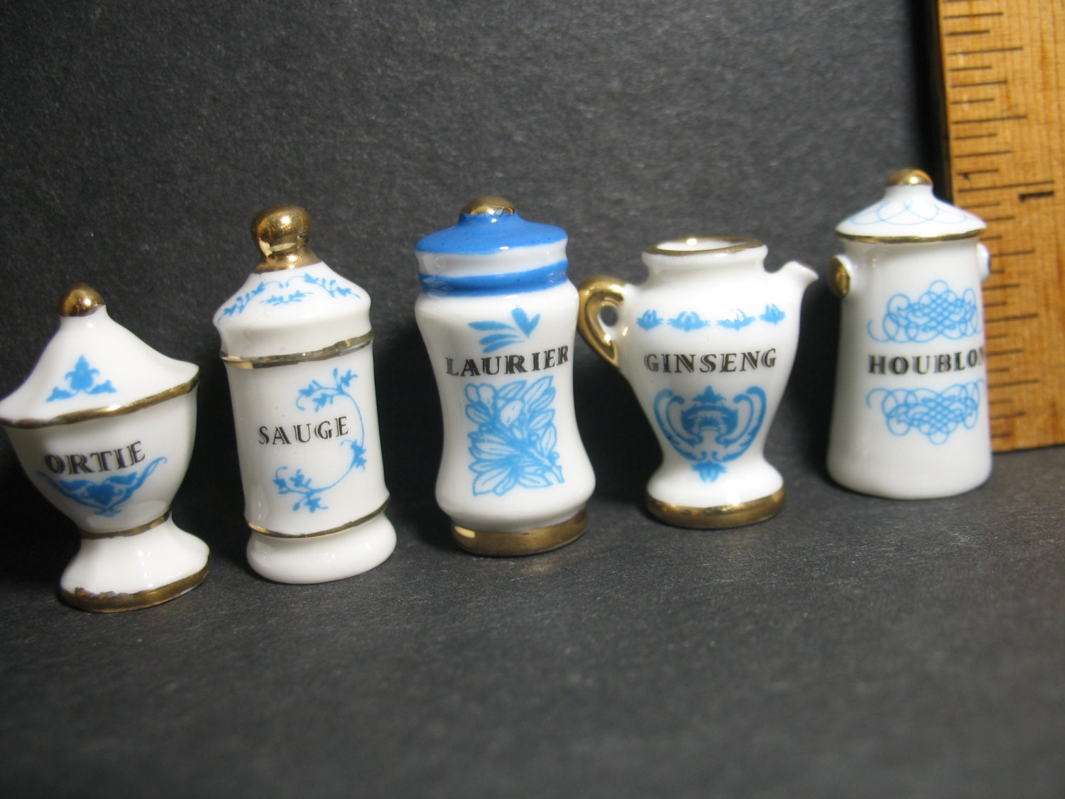 French Canisters Kitchen Spice Canisters Kitchen Apothecary Jars Containers Blue White
