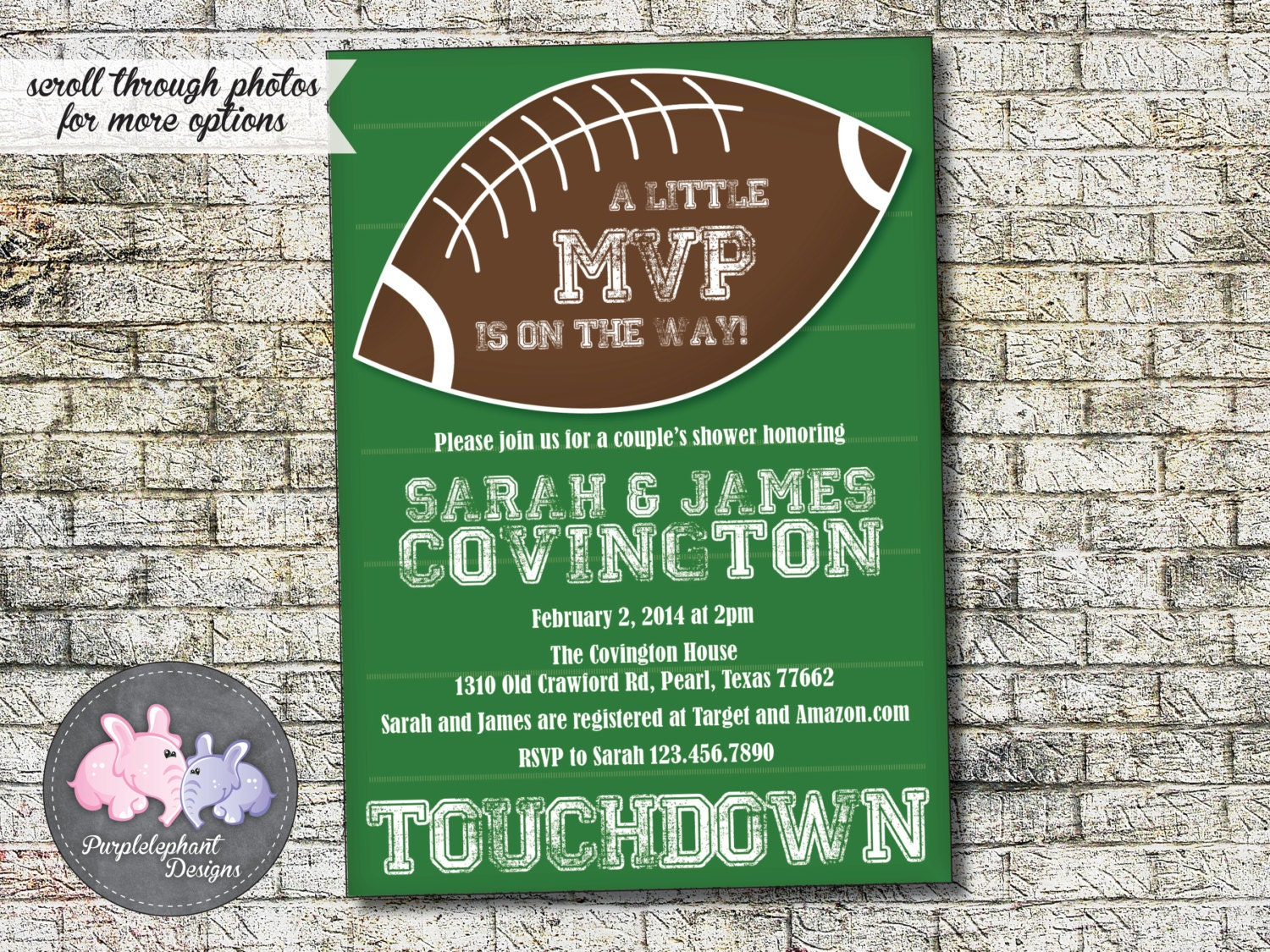 football baby shower invitation baby boy couples shower