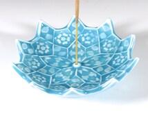 Lotus Bloom Incense Burner - Turquoise Mandala Incense Holder - Throat Chakra Meditation Aid - Japanese Incense Holder