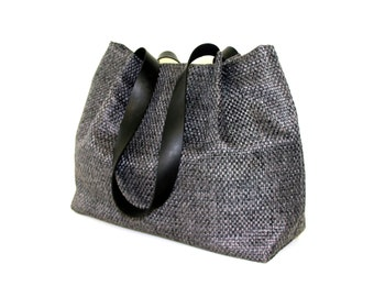 grey canvas handbag, grey tote bag,  leather straps bag, every day bag, grey shoulder bag, grey faux leather handbag, large bag, canvas bag