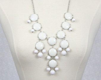 White Bubble Necklace Statement Necklace Bib Necklace