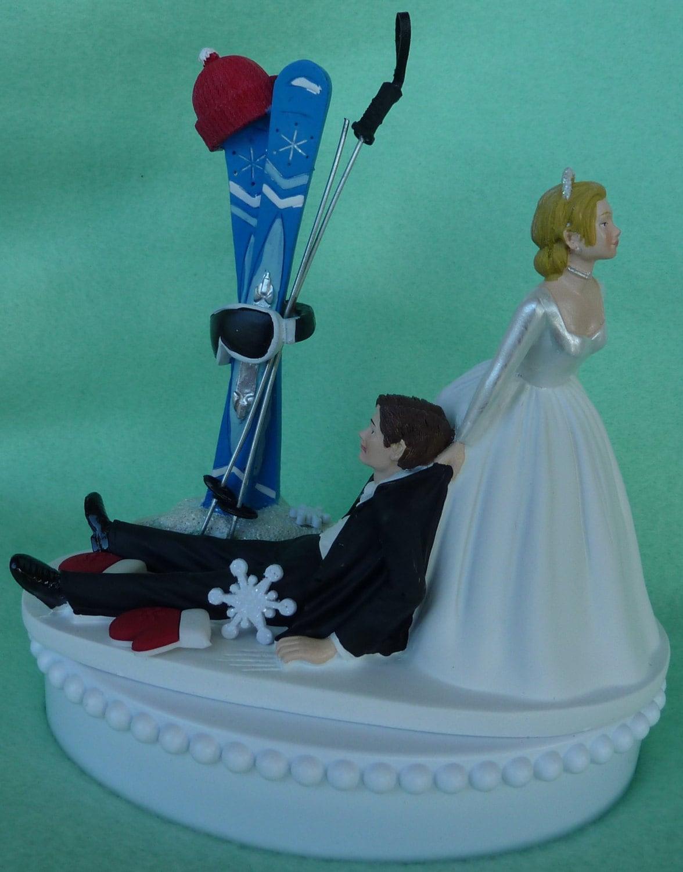 Wedding Cake Topper Skiing Ski Groom Skier Themed w by WedSet