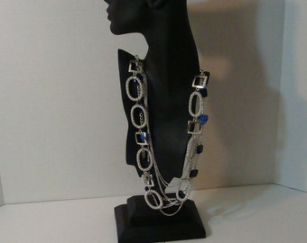 silver and cobalt blue necklace