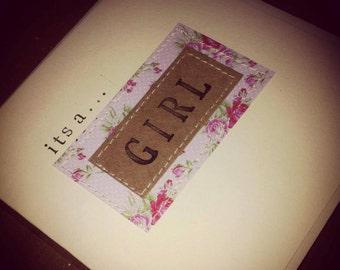Baby Girl Card, New Baby Card, Shabby Chic Baby Card *HANDMADE*