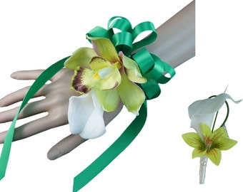 2pc Set - Calla Lily and Orchid Wrist Corsage and Boutonniere (BCSET-23)