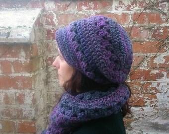 Crochet newsboy hat with brim . Newsboy beanie . Purple Crochet newsboy hat , Crochet brimmed beanie hat