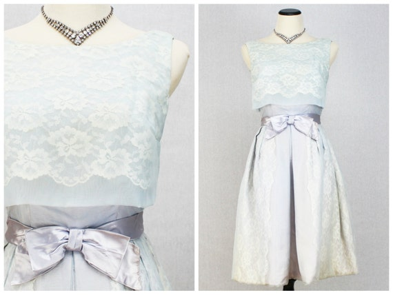 Vintage 1960s Blue Lace Organza Party Dress