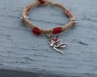 Red Fairy Hemp Macrame Bracelet