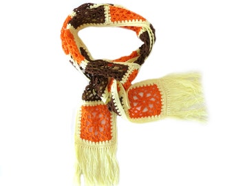 "Skinny CROCHET SCARF with Granny Squares - Fashion Cotton Crochet Scarf - Brown, Orange and Yellow Handmade Scarf (60.5"" x3.5"")"
