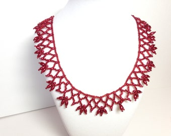 Red pearl and seed bead necklace