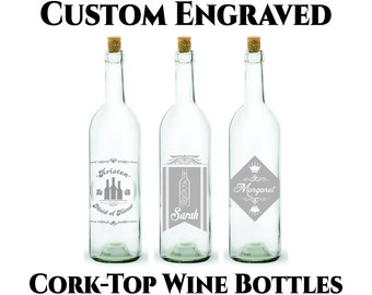 Custom Wine Bottle- 750ml -Customized Engraving- Cork Top Wine Bottle- Includes Cork