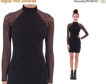 WINTER SALE 90s Studded Sheer Sleeve Bodycon Mini Dress Long Sleeved Little Black Dress Goth Rocker Vintqage Clothing Womens Size Small