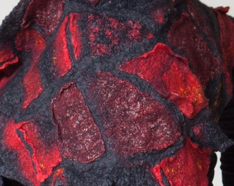 """Black Red Felted Scarf: """"Malevich"""" Nuno Felted Wrap (merino wool, silk, wrap shawl, nuno felt, felted art, handmade)"""