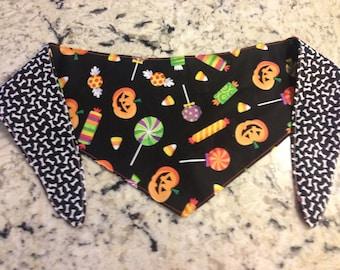 Tie-on Dog Bandana in Halloween Candy Time  - XSmall/Small/Medium/Large/XLarge